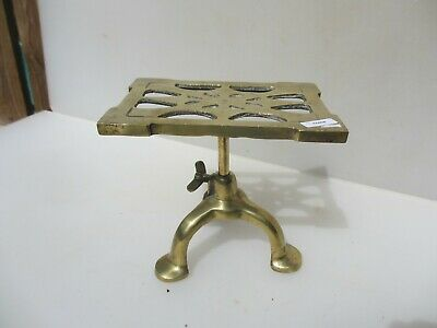 Antique Brass Trivet Cake Planter Iron Stand Vintage Old Spong