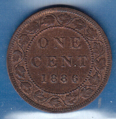 1886 Canada ICCS Graded Large 1 Cent Coin - OBV 1 - M S 62