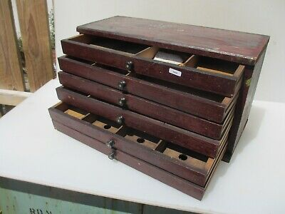 "Small Vintage Wooden Chest of Drawers Workshop Tools Storage Old 18.5""W"