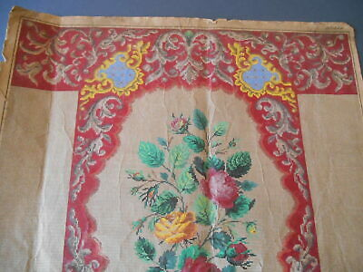 Antique large Berlin woolwork pattern chair back rose sprays