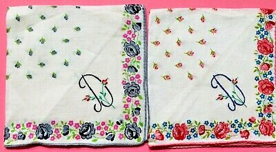 "Pair of matching Vintage ""D"" Monogrammed, embroidered hankies, all cotton."