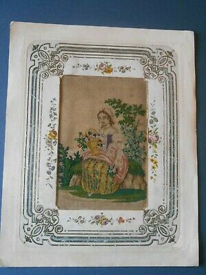 Fine Antique Regency Petit Point Embroidery flower girl original paper surround