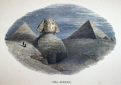 1851 Hand-colored Antique Engraving Egypt Great SPHINX & Pyramids Giza Egyptian