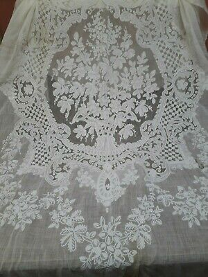 Antique Tambour Curtain / Wedding Veil Fine Cotton Handmade Edwardian