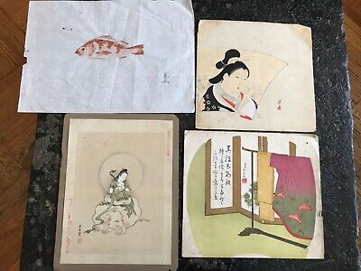 Group Of 4 Original Antique Japanese Woodblock Prints Signed & Stamped