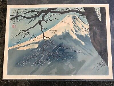 Vintage/Antique Japanese Woodblock Print of Fuji Mountain Signed