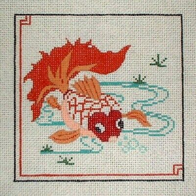 KW 1257 Koi Cat Fish HP Hand Painted Needlepoint Canvas