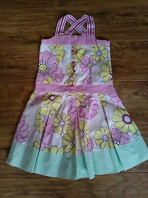 Girls Joules Cotton Summer Skirt Top Outfit Floral Yellow Pink White Age 6-7 Yrs