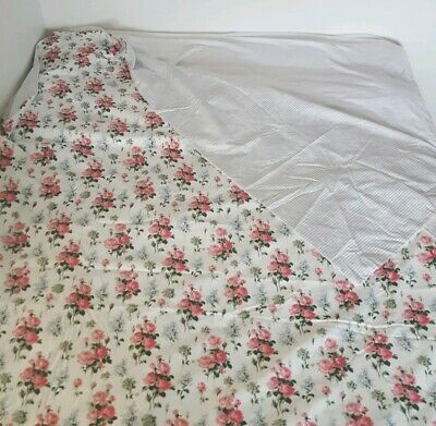 """IKEA Emmie Sot TWIN Duvet Cover Roses Stripes Reversible Cottage Chic 64"""" x 88"""""""