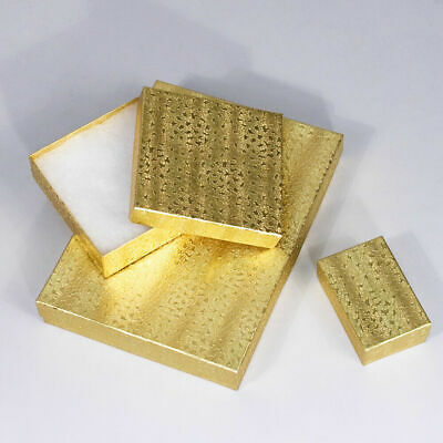 Gold Color Cotton Filled Gift Boxes Jewelry Cardboard Box Lots of 10~20~50~100