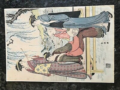 Vintage/Antique Japanese Woodblock Print of Geishas Signed