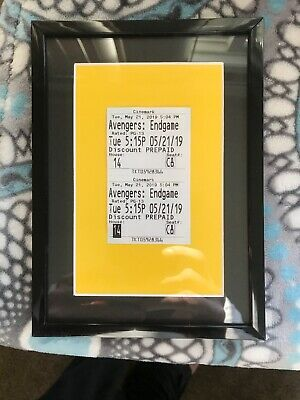 Framed Untorn Unripped Avengers Endgame Movie Ticket On Glass & Black Frame