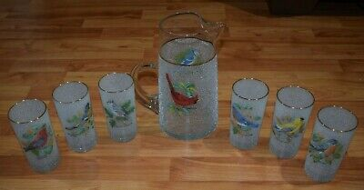 Vintage 1960s Songbird Frosted Pitcher & 6 Tumblers Glasses RARE Complete Set
