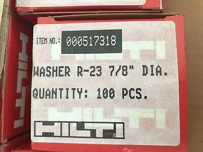 """Box of 100 Hilti R-23 #51731 7/8"""" Steel Washers for use with Nails NEW NIB"""