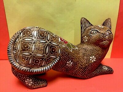 Antique 1924 Russian Signed Hand Carved & Hand Painted Big Wooden Cat Figurine.