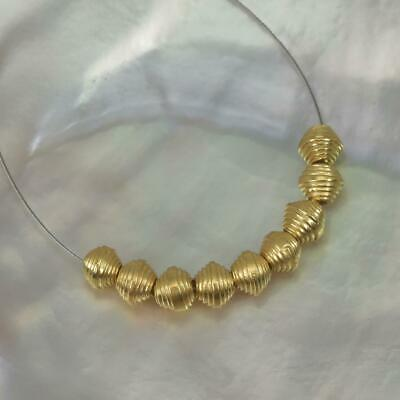 18K Gold Vermeil over Sterling Silver 9 Thai Hill-tribe Beads 1.99 g 3-Micron