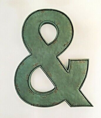 Large Vintage Metal AMPERSAND Sign Symbol Rustic Industrial Wall Decor New &