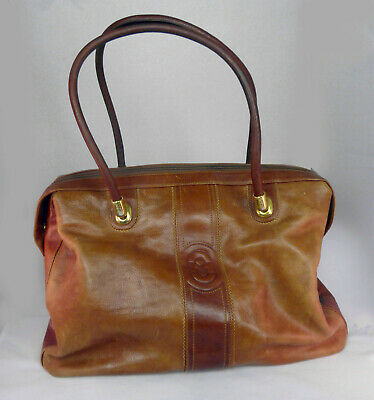 NWT MARINO ORLANDI Embossed Butterfly brown leather satchel shoulder bag