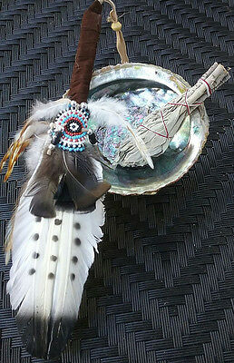 Deluxe Abalone Shell White Sage Smudge Kit On Tripod W.  Native American Smudger