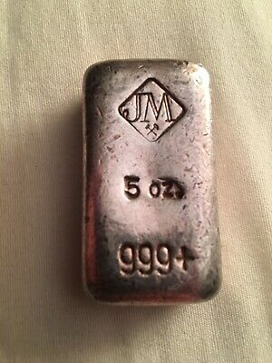 Rare Johnson Matthey 5 Ounce .999 Silver Bar Cast Finish Less Than 500 Produced