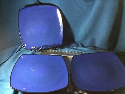 lot 3 Gibson everyday china stoneware dinner plate blue black