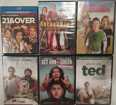 Lot of 5 DVDs + 1 Bluray Comedy 21 & Over Anchorman 2 Benchwarmers Due Date Ted
