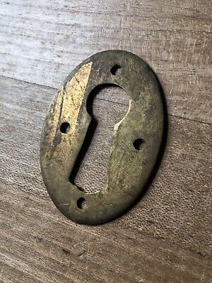 Escutcheon Keyhole Cover Victorian Reclaimed Old Brass Vintage Original