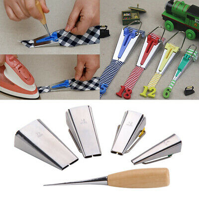 Fabric Bias Tape Maker Tool Sewing Quilting 6mm 12mm 18mm 25mm + Awl Craft Set