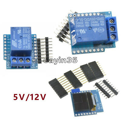 WeMos D1 Mini 5/12V Wifi 1CH Relay Shield 0.66 inch OLED I2C for ESP8266 Arduino