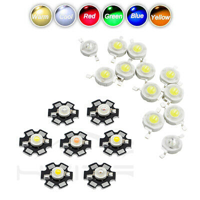 10X 50X White Red Blue Yellow 3W With Star PCB LED COB Chip LED Bulb Diodes Lamp