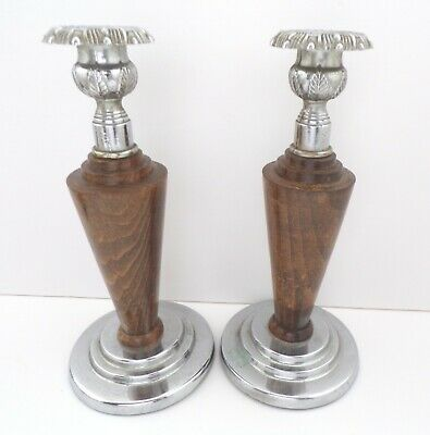 Vintage pair of candlesticks art nouveau arts and crafts with turned dark wood
