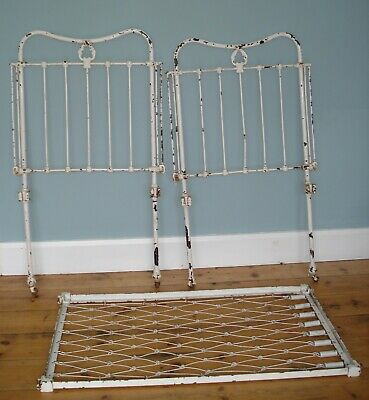 Antique Pretty Painted White Iron Child's Cot Crib in Original Condition