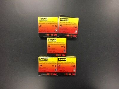 Scotch #70 Self Fusing Silicone Electrical Tape 1in X 30ish ft (5) ROLLS
