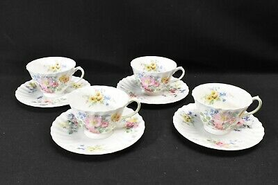 Royal Doulton Arcadia Green Backstamp Set of 4 Cups & Saucers