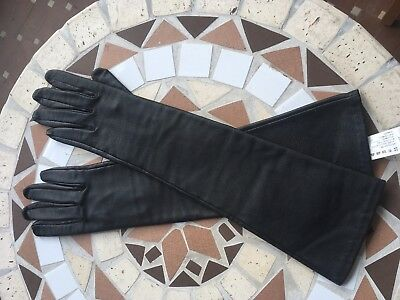 Long Black Leather Gloves Sasch Size 7,5 Perfect