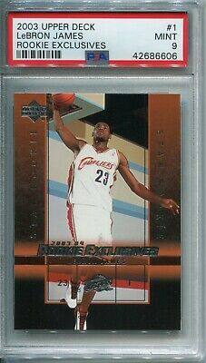22a2e7aa06d 2003 Upper Deck LeBron James PSA MINT 9 Rookie RC Lakers Cavaliers Heat MVP