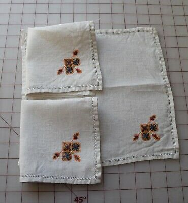 7429  4 antique 1920's cotton napkins, Arts & Crafts style embroidery