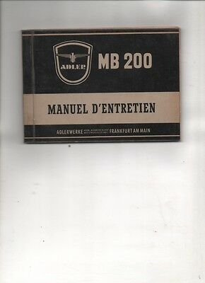 Adler  MB 200  notice