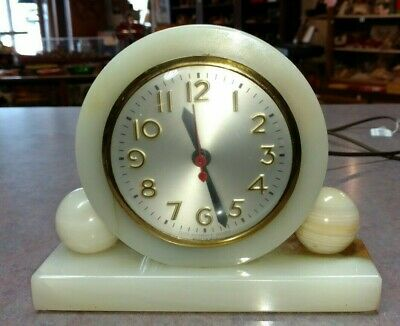 Vintage Art Deco Onyx Marble Electric Desk Mantel Mantle Sessions Clock WORKING