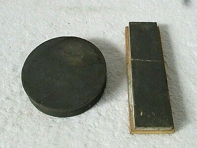 Lot of 2 Vintage Knife Sharpening Stones- Round and Flat