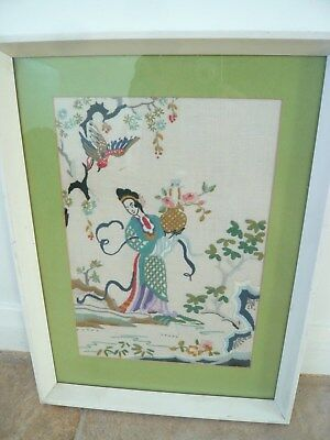 Vintage Embroidered Oriental framed picture