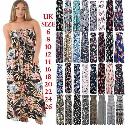 Plus Size Womens Ladies Printed Gathered Boob tube Bandeau Sheering Maxi Dress