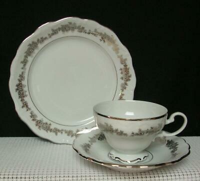 "TUXEDO Queen Anne Bavaria ""TRIO"" TEA CUP SAUCER & DESSERT PLATE Bone China EUC"