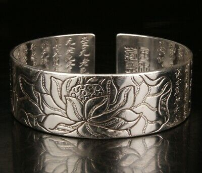 Tibetan Silver Hand Carving Buddhist Bracelet Gift Collection Old