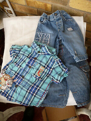 Job Lot Bundle 2 PAIRS OF ~NEXT~ DENIM JEANS AND 1 DISNEY DESIGN SHIRT -3/6 MTHS
