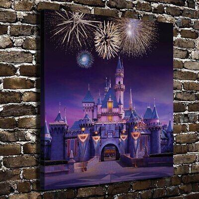 "12""x12""Disney Castle Paintings HD Canvas Print Home Decor room Wall Art Pictures"
