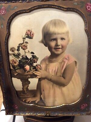 Vintage Antique Wood Framed Portraid Early 1900's Young Girl Witzel Photograohy