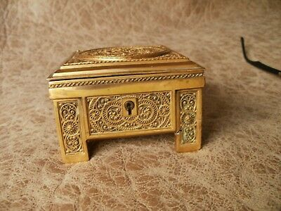 Key Rare Art Noveau Antique Gilt Filigree Jewellery Box Erhard & Sohne C1910 Jewelry Boxes Periods & Styles