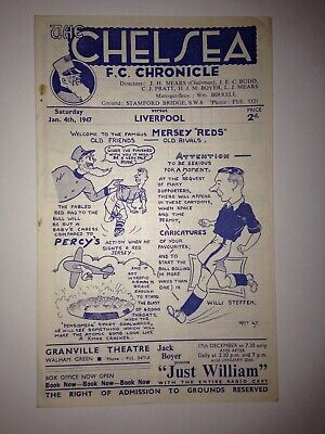 CHELSEA v LIVERPOOL(CHAMPIONS) JAN 4th 1947 DIV 1 VGC