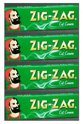4 PACKS Zig Zag Green Rolling Papers Cut Corners *Best Price* *USA SHIPPED*